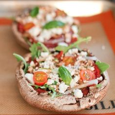 Easy, Low-Cal Arugula and Goat Cheese Portobello Pizzas: The following post was originally featured on Eating Bird Food and written by Brittany Mullins, who is part of POPSUGAR Select Fitness.