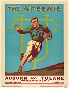 Tulane V Auburn Tigers Vintage Official 1934 Football College Program Poster