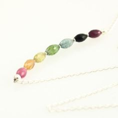 """Over the Rainbow"" Tourmaline and Sterling Silver wire wrapped neckace by Sabrinah Renee, boutique jeweler"