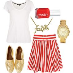 striped skirt with gold glitter toms