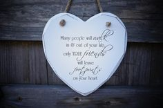 Best friend gift. Shabby chic wood heart plaque by YBCMDesigns