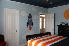 Hs Launch Pad - Space Room, Orange, Navy, light blue colors. Star ceiling, paper lantern solar system, rocket scene., Boys Rooms Design