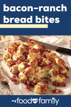 Bacon-Ranch Bread Bites – This tasty appetizer is great for getting the party started! Make this cheesy and delicious recipe with KRAFT Mozzarella Cheese, OSCAR MAYER Center Cut Bacon, and frozen bread dough. Finger Food Appetizers, Yummy Appetizers, Finger Foods, Appetizer Recipes, Dessert Recipes, Desserts, Tasty, Yummy Food, Delicious Recipes