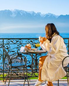 """Chris & Danika on Instagram: """"Mornings are always our favorite! ☕️ Tag someone you'd like to have breakfast with in this spot! Photo from our trip the Vevey, Switzerland in Dec 2015"""" (Hôtel des Trois Couronnes)"""
