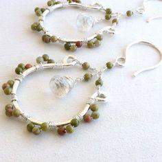 Wire Wrapped Hoop Earrings Handmade Sterling Silver Jewelry Unakite Quartz Briolettes. $50.00, via Etsy.