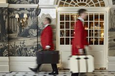 Footmen in the Front Hall of The Goring Hotel, London