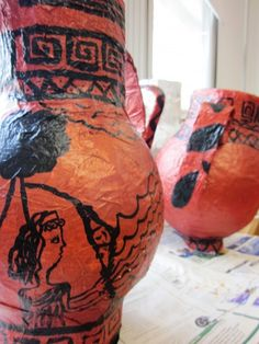 """""""Papier Mache Art Lessons"""" - - - Am I the only one who wondered why someone was making a papier mache greek vase arse?"""