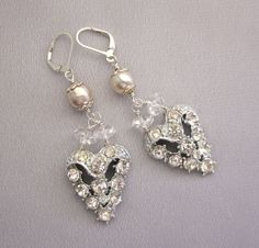 Vintage Upcycled Heart Rhinestone Earrings with pearl and rock crystal accents.  Click here for more details and use Coupon Code PINNER10 for 10% off your purchase.