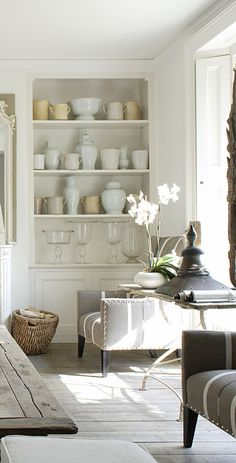 elegant and casual- need some cream jugs/jars, like this for over my kitchen