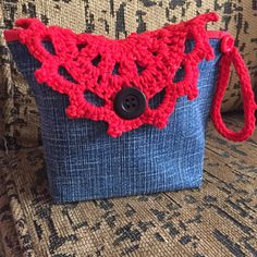 Old jeans com crochet, recilcando By Nadia Franca