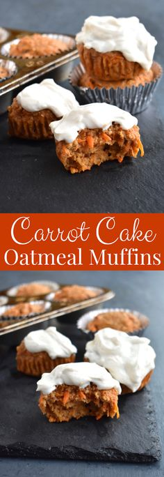 Carrot Cake Oatmeal Muffins are gluten-free, filling, quite dense, perfect for breakfast or snack and totally healthy! Filled with shredded carrots and raisins and topped with a Greek yogurt, cream cheese frosting. www.nutritionistreviews.com #carrotcake #muffins #oatmeal #easter #healthy #oats #glutenfree #cleaneating #healthy Healthy Carrot Muffins, Carrot Cake Oatmeal, Gluten Free Carrot Cake, The Oatmeal, Savoury Cake, Sans Gluten, Clean Eating Snacks, Healthy Snacks, Food Processor Recipes