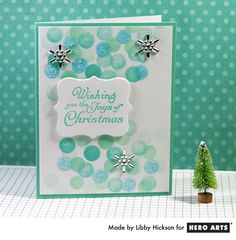 "Libby Hickson shares a fun and easy technique for mimicking the look of ""bokeh"" on a card  #HeroArts"