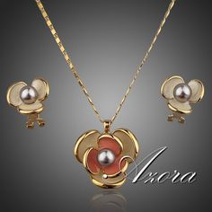 Classic 18K Real Gold Plated Flower Design Clip Earring and Pendant Necklace Set FREE SHIPPING!(Azora TG0023) $6.52