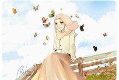 One Fine Day by retma Cartoon Sketches, Illustration Sketches, People Illustration, Cartoon Art, Hijabi Girl, Girl Hijab, Hijab Anime, Muslim Images, Hijab Drawing