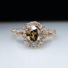 Oval Light Brown Diamond Engagement Ring Halo by JamieKatesJewelry