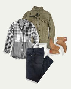 No-fail fall uniform: plaid, cargo, denim and booties. Who else has these fall classics on repeat?