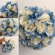 A wedding bouquet collection of blue and ivory roses & hydrangea Bride Bouquets, Bridesmaid Bouquet, Artificial Wedding Bouquets, Open Rose, Ivory Roses, Satin Bows, Pale Pink, Hydrangea, Peonies