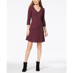 Ny Collection Petite V-Neck Cable-Knit Sweater Dress (€51) ❤ liked on Polyvore featuring dresses, teresa, v neck dress, petite dresses, sweater dress, cable knit sweater dress and fit flare dress