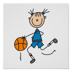 A stick figure girl basketball player design on basketball T-shirts, hoodies, tank tops, mugs, cards, stickers, keychains, keepsakes, iPhone cases, and much more.