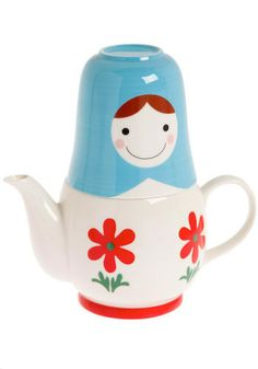 .Perfect combination, tea in a russian doll teacup and tea pot!!