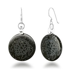 These beautiful Glass earrings are 100% handmade by professional artisans. The vivid colors and unique design make this jewelry a wonderful addition to any wardrobe. The included black velvet pouch also makes it the perfect gift for someone special. Made from .925 Sterling Silver earwire, hand blown glass with black enamel finish in the back. They are light weight and have matching pendant necklace. If you want to find a necklace for a complete set, please search Amazon for NE0414BLK…