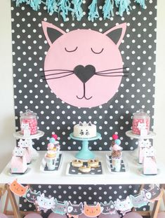 It's time for the cutest kitty cat party you ever did see and all your fabulous feline friends are invited! This Purr-Fect Cat Party is full of yummy kitty-inspired treats, the most adorable partyware we ever did see! Kids Birthday Themes, Cat Birthday, Birthday Party Decorations, Party Themes, Birthday Parties, Kid Parties, Kitten Party, Cat Party, Polka Dot Paper