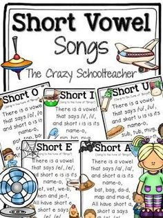 Short Vowel Songs ~ Free! My kids love to find and highlight the short vowel words in each song.