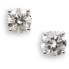 Roberto Coin Diamond Prong Studs/.8 TCW ($2,535) ❤ liked on Polyvore