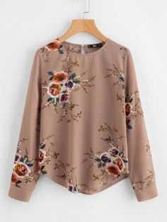 Shop Flower Print Keyhole Back Curved Hem Blouse online. SheIn offers Flower Print Keyhole Back Curved Hem Blouse & more to fit your fashionable needs. Floral Tops, Floral Blouse, Frill Blouse, Collar Blouse, Embroidered Blouse, Blouse Fleurie, Brown Long Sleeve Tops, Sewing Blouses, Women's Blouses