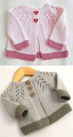 open section knitting for babies Baby Cardigan Knitting Pattern Free, Crochet Baby Jacket, Knitted Baby Cardigan, Knit Baby Sweaters, Knitted Baby Clothes, Baby Knitting Patterns, Knitting Designs, Knitting For Kids, Lace Detail
