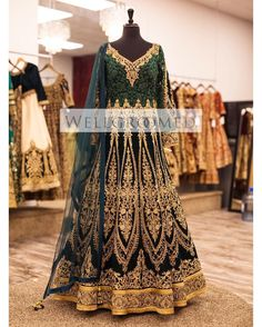 WIM Enjoyed and Liked on instagram from wellgroomedinc: If you're looking for a unique showstopper piece for your BIG day look no further!! This deep green gown is full resham yoke and is detailed with zardozi motifs! And comes paired with a beautiful net dupatta!! Are you looking for the bridal outfit of your dreams? Or that showstopping party wear piece?  Email us at sales@wellgroomed.ca to set up a consultation with one of our fashion consultants! Are you an International shopper? No…