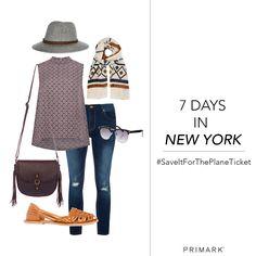 Primark - 7 Days in New York #SaveItForThePlaneTicket sleeveless shirt, scarf, cutout flats, hat