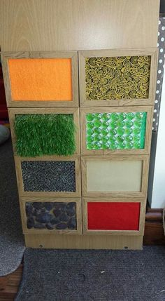 This sensory board has different textured items glued into picture frames. The frames can be attached to the end of a shelf in the classroom. The students can explore the textures during free time or center time. This could be very beneficial as a calm down center for a student that may be overwhelmed.