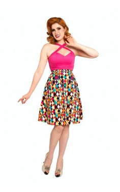 Pinup Girl Clothing- A Line Skirt in Multi Color Diamantes Print | Pinup Girl Clothing