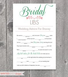 Printable Bridal Libs Mad Libs Bridal Shower by MintedGreyDesigns Wedding Games, Wedding Advice, Our Wedding, Wedding Planning, Wedding Ideas, Dream Wedding, Bridal Shower Games, Bridal Shower Invitations, Bridal Showers