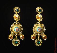 Byzantine D Amp G Set Crown Earrings Swarovski 24 K Gold Handmade Tiara Headband | eBay