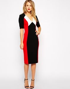 ASOS Pencil Dress with Plunge Neck in Colour Block