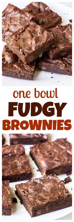 Soft, fudgy brownies that are ready to bake in 10 minutes and use just one bowl! This is the BEST brownie recipe. Easy To Make Desserts, Just Desserts, Delicious Desserts, One Bowl Brownies, Best Brownies, Brownie Recipes, Cookie Recipes, Dessert Recipes, Desserts With Chocolate Chips