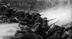 Belgian infantry firing at German forces during the Battle of Liège, 1914.