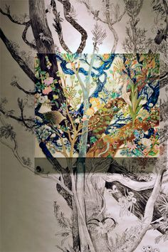 """Maki Ohkojima, a Japanese based painter, has developed in an intricate style she calls """"the mural beyond the frame."""""""