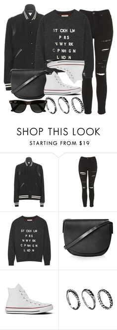 """Style #9932"" by vany-alvarado ❤ liked on Polyvore featuring Yves Saint Laurent, Topshop, Madewell, Converse, DesignSix and Ray-Ban"