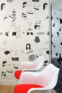 Artwork for office walls Executive Office Some Flirty Wallpaper At Id Experiential London Ooh Lala Office Wall Hgtvcom 33 Best Office Design Wall Art Artwork Images
