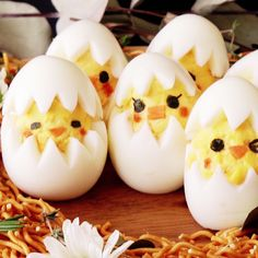 Hard boiled eggs are so much more fun to eat when you have little chicks peeping out at you!