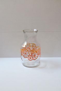 VINTAGE JUICE CARAFE, Large Vintage Decanter, pitcher with flowers, orange flower pitcher,vintage drink container,juice pitcher with flowers