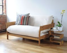 Oak 2 Seater Double Sofa Bed