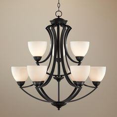 Valentina iron leaf collection six light chandelier for Possini lighting website