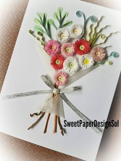 Paper Quilling Art. English Daisy Flower bouquet card.