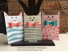 Little cat gift tags, Stampin' Up! Sheltering Tree, Painted Petals, Best Day Ever, bow builder punch