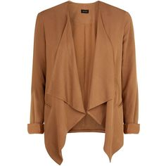 Camel Soft Waterfall Blazer (585 MXN) ❤ liked on Polyvore featuring outerwear, jackets, blazers, coats, cardigans, camel, camel jacket, waterfall blazer, brown blazer and draped jacket