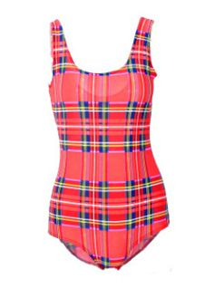 EAST KNITTING X-304 2014 New Women Bodysuits Tartan Red Print Swimsuit One Piece Sexy Bathing Swimwear Free Shipping